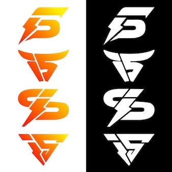 Stel abstract monogram is logo ontwerpconcept in