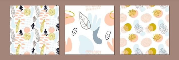 Stel abstract patroon in met organische vormen in pastelkleuren. organische achtergrond met vlekken. collage naadloos patroon met aardtextuur. modern textiel, inpakpapier, kunst aan de muur