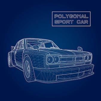 Stel abstracte creatief concept vector achtergrond van 3d-automodel. sportwagen.