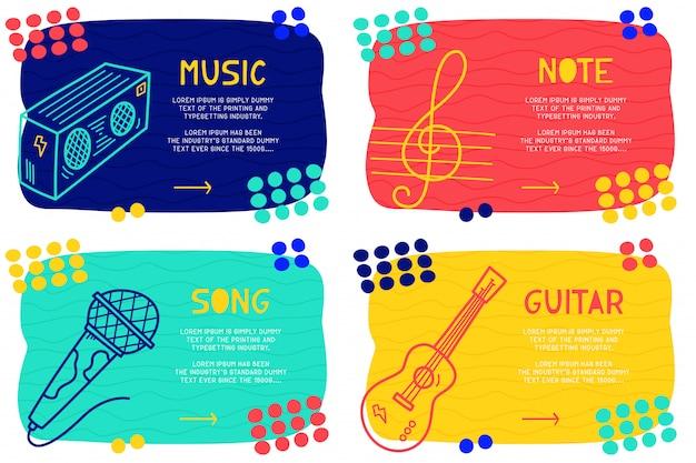 Stel abstracte doodle muziek