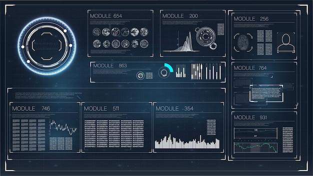 Stel abstracte hud-elementen in voor ui ux ontwerp futuristische scifi gebruikersinterface voor app-zaken