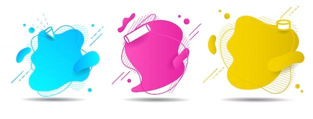 Stel abstracte kleurrijke vloeibare geometrische vorm