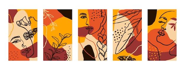 Stel achtergronden in met vrouwenportretten en flora-elementen. abstracte mobiele achtergronden in minimalistische trendstijl voor verhalen op sociale media. vectorillustratie in herfstkleuren oranje, geel, terracotta