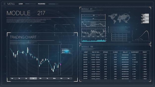 Stel afbeeldingen en grafieken in forex markt- en handelselementen gegevens en statistische informatie en info
