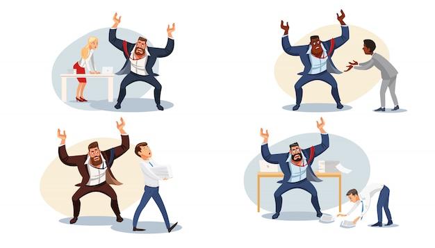 Stel agressieve baas in die schreeuwt tegen ondergeschikten