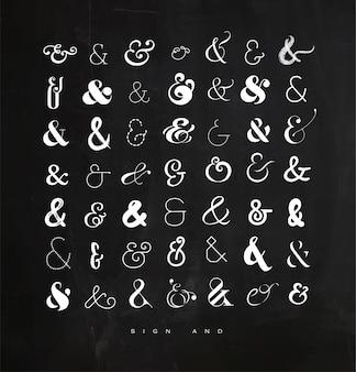 Stel ampersands in voor brievenkrijt