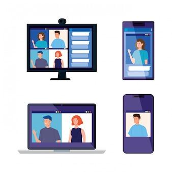 Stel apparaten elektronica in met mensen in videoconferentie