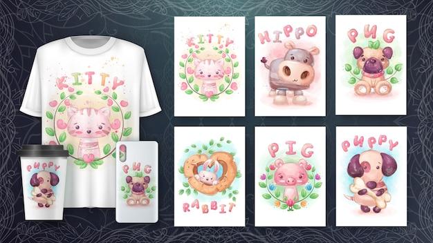 Stel aquarel dierenposter en merchandising in