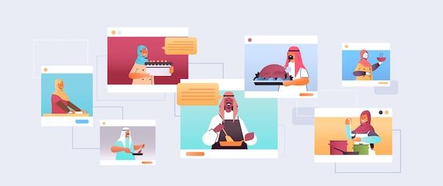 Stel arabische voedselbloggers die gerechten bereiden arabische chef-koks in webbrowservensters online kooklesconcept