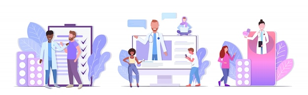 Stel artsen in die consulting raadplegen en medicijnen geven om racepatiënten gezondheidszorg geneeskunde concepten collectie horizontale volledige lengte te mengen