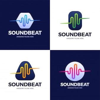 Stel audio sound wave-logo sjabloon voorraadontwerp in. lijn abstract muziektechnologie logo. embleem met digitaal element, grafische signaalgolfvorm, curve, volume en equalizer. illustratie.