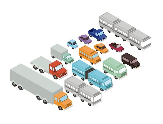 Stel auto's isometrics proy pictogram vector illustratie ontwerp