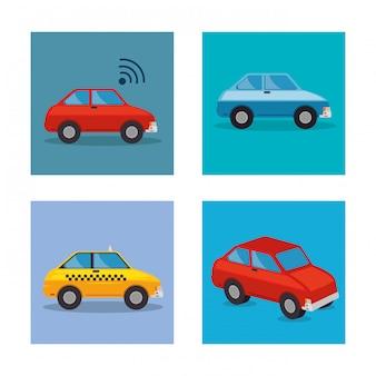 Stel auto's stijlen pictogrammen