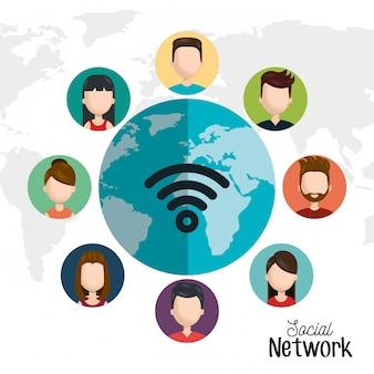 Stel avatar sociaal netwerk digitaal geïsoleerd