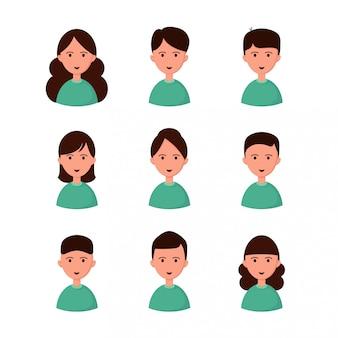 Stel avatars in. meisjes en jongens.