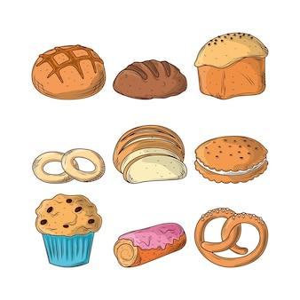 Stel bakkerijproducten in