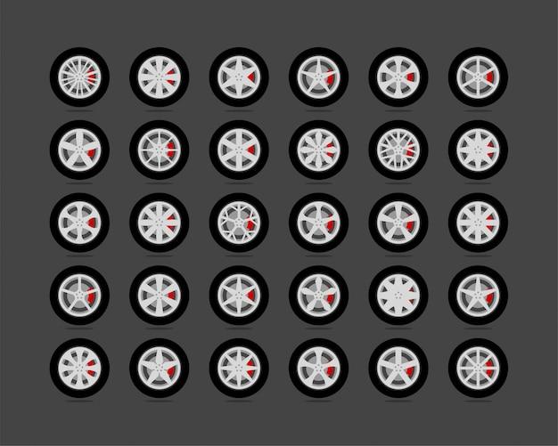 Stel banden en wielen in. disc wiel auto pictogram.