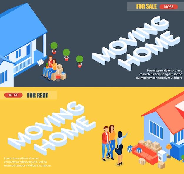 Stel banner in beweging naar huis te huur en te koop.