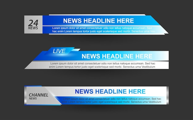 Stel banners en lagere derde in voor nieuwskanaal met blauwe en witte kleur