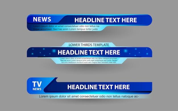 Stel banners en lagere derde in voor nieuwskanaal met blauwe kleur
