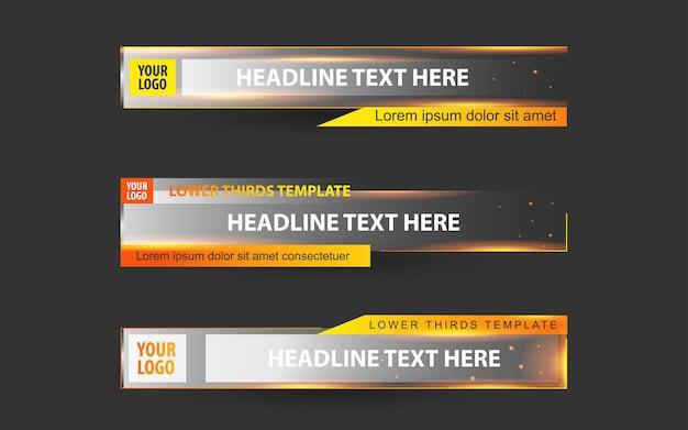 Stel banners en lagere derde in voor nieuwskanaal met oranje en witte kleur