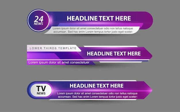 Stel banners en lagere derde in voor nieuwskanaal met paarse en witte kleur