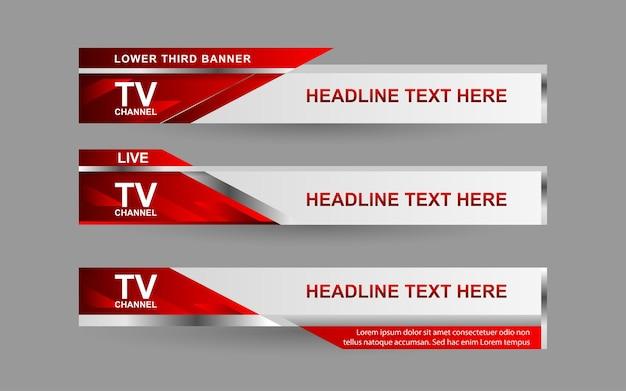 Stel banners en lagere derde in voor nieuwskanaal met rode en witte kleur