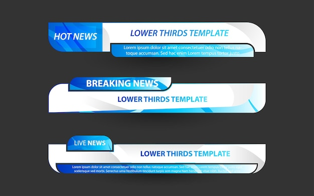 Stel banners en lagere derde in voor nieuwskanaal met witte en blauwe kleur