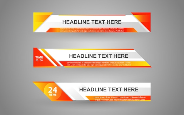 Stel banners en lagere derde in voor nieuwskanaal met witte en oranje kleur