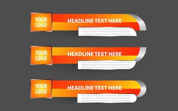 Stel banners en lagere derden in voor nieuwskanaal met witte en gele kleur