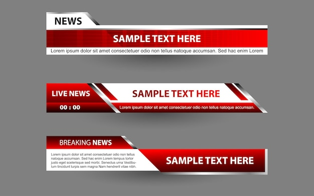 Stel banners en lagere derden in voor nieuwskanaal met witte en rode kleur