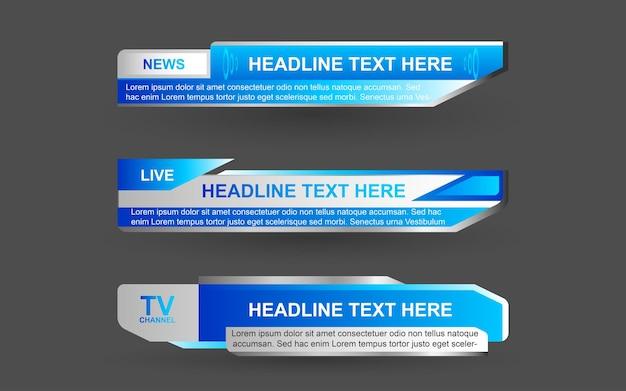 Stel banners en lagere derden in voor nieuwszender met blauwe en witte kleur