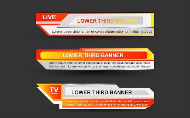 Stel banners en lagere derden in voor nieuwszender met oranje en witte kleur