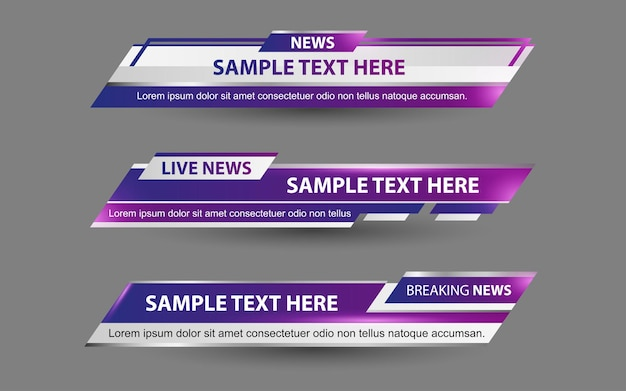 Stel banners en lagere derden in voor nieuwszender met paarse en witte kleur