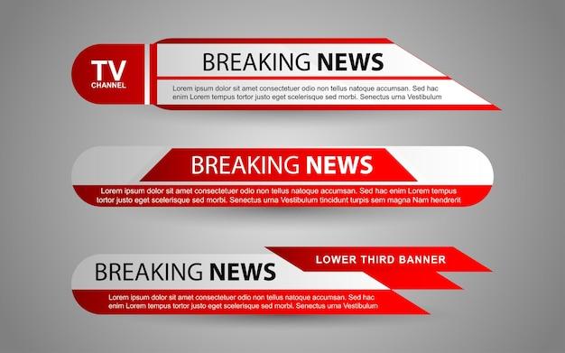 Stel banners en lagere derden in voor nieuwszender met rode en witte kleur