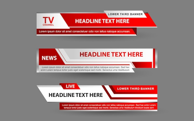 Stel banners en lagere derden in voor nieuwszender met witte en rode kleur