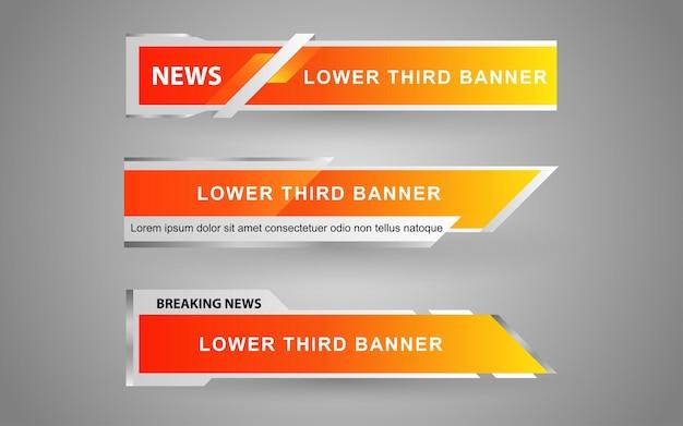 Stel banners en onderste derde in voor nieuwskanaal met gele en witte kleur