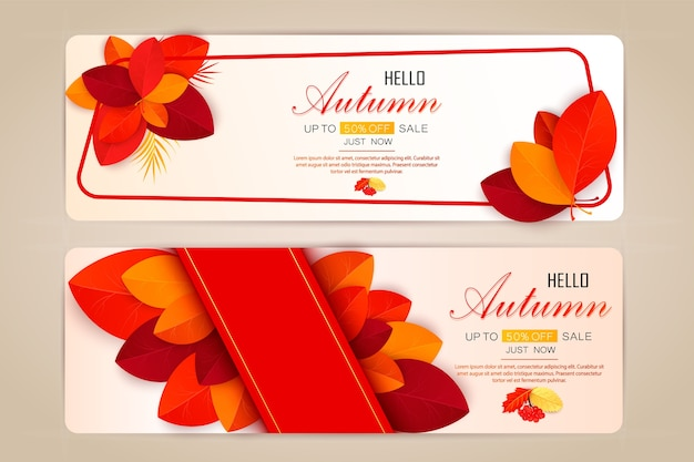 Stel banners met rode, oranje, bruine en gele herfstbladeren.