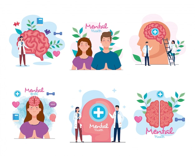 Stel banners van geestelijke gezondheid met pictogrammen in