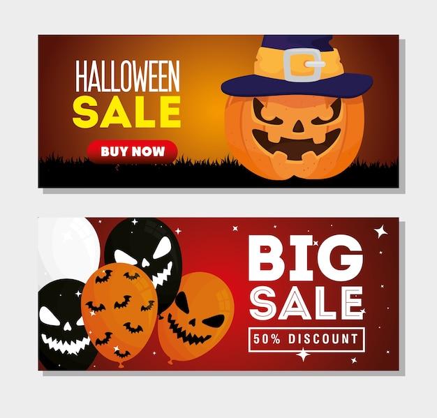 Stel banners van halloween-verkoop met decoratie in