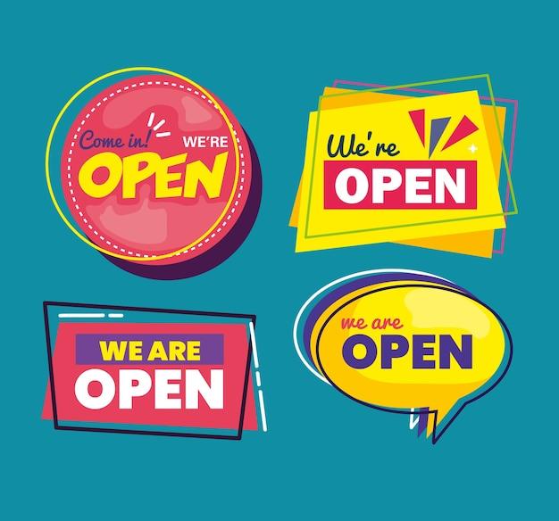 Stel banners van letters die we open zijn op blauw achtergrondontwerp