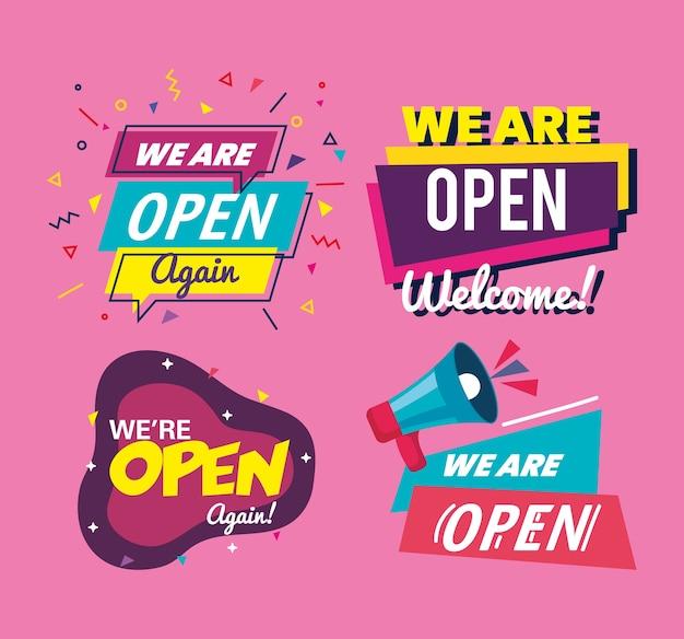 Stel banners van letters die we open zijn op roze achtergrondontwerp