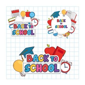 Stel banners van terug naar school met onderwijs pictogrammen voor benodigdheden