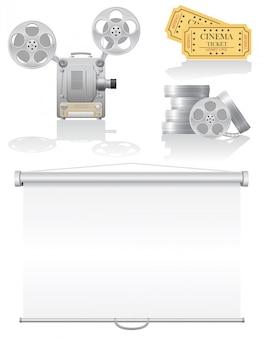 Stel bioscoop elementen vector illustratie