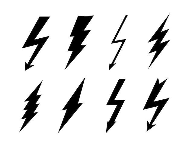 Stel bliksemschicht in. platte bliksemschicht tekenen, vector blikseminslag pictogrammen.