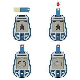 Stel bloedglucosemeters en bloeddruppel in. bloedsuikerspiegel testen, behandeling, monitoring en diagnose van diabetes concept. pictogram in vlakke stijl. geïsoleerde vectorillustratie