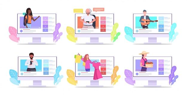 Stel bloggers in die online video-vloggers opnemen die livestreaming uitzenden, sociale media netwerken, bloggen, concept, computermonitors, schermen, verzameling, horizontaal