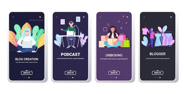 Stel bloggers in die online video-vloggers opnemen die livestreaming uitzenden sociale media-netwerken bloggen concept smartphone-schermen collectie horizontaal