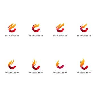 Stel brandlogo-ontwerp in met 3d-rode en oranje kleurstijl