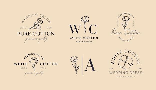 Stel bruiloftslogo's in een minimale trendy stijl in. liner bloemenlabels en badges - vectorpictogram, sticker, stempel, label met katoenen bloem voor trouwsalon- en bruidswinkeljurken